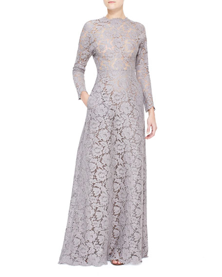 Long-Sleeve Lace Gown with Open Back