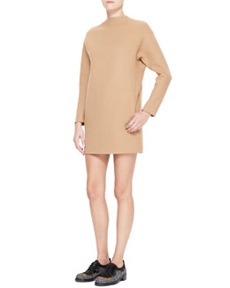 Valentino Dolman-Sleeve Double-Felt Shift Dress, Camel