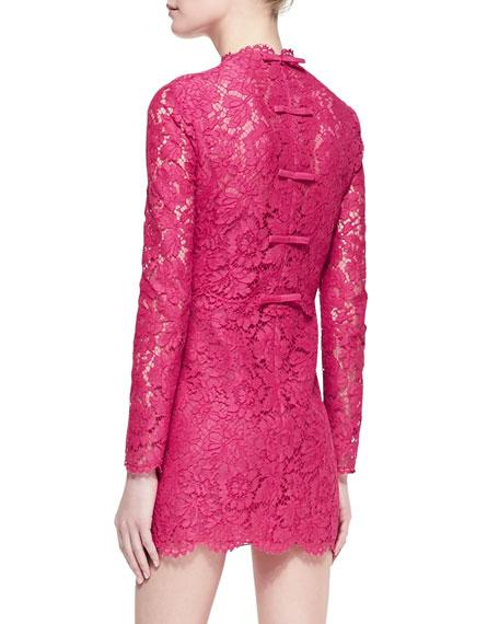 Long-Sleeve Scalloped Lace Minidress, Cherry