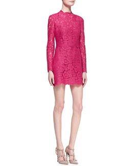 Valentino Long-Sleeve Scalloped Lace Minidress, Cherry