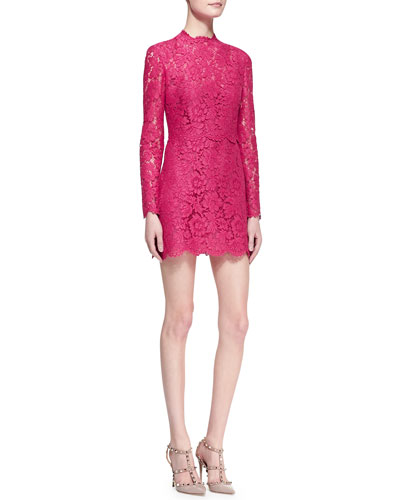 Valentino Long-Sleeve Scalloped Lace Minidress, Cherry