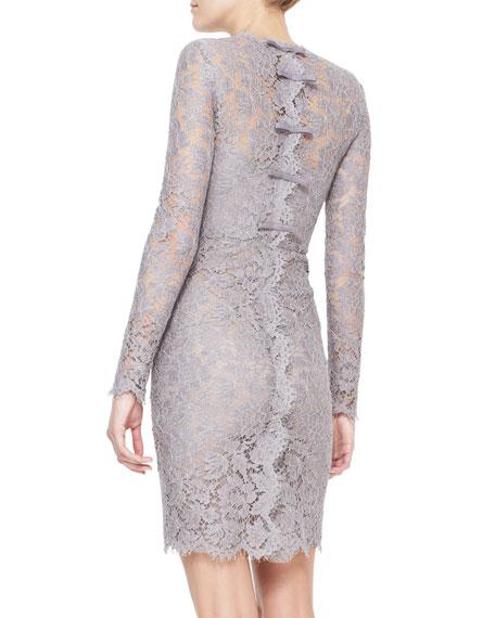 Valentino Long-Sleeve Lace Sheath Dress, Lilac Gray