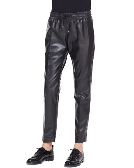 Valentino Leather Track Pants with Drawstring, Black