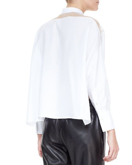 Sheer-Yoke Self-Tie Side-Slit Blouse, White