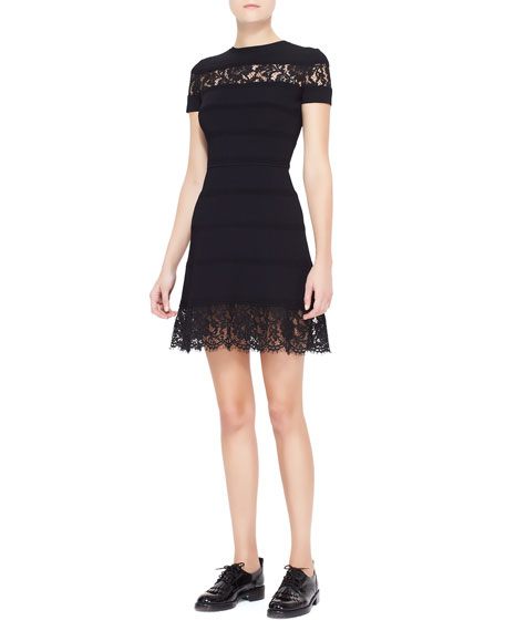 Lace-Insert Striped Dress, Black