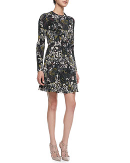 Valentino Long-Sleeve Butterfly-Print Flounce Dress