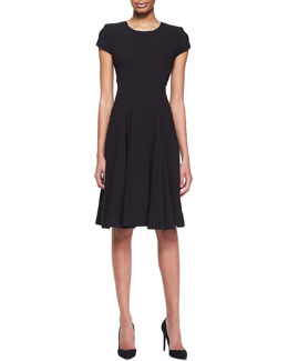 Zac Posen Short-Sleeve Crepe A-Line Dress, Noir Black