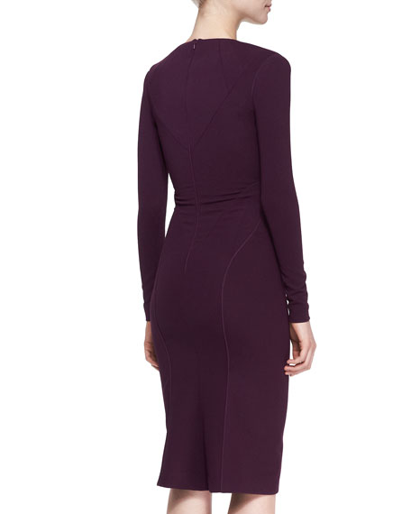 Long-Sleeve Bonded Jersey Dress, Amethyst