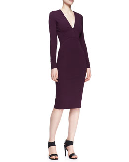 Zac Posen Long-Sleeve Bonded Jersey Dress, Amethyst