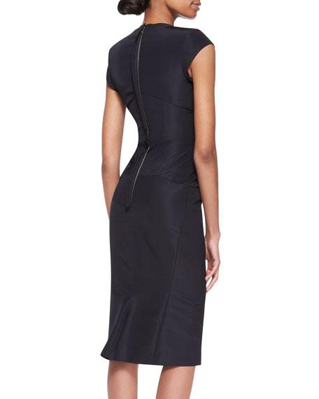 Cap-Sleeve Silk Faille Dress, Black