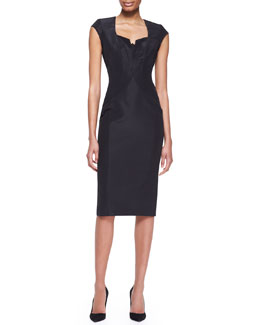 Zac Posen Cap-Sleeve Silk Faille Dress, Black