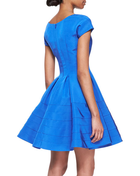 Short-Sleeve Silk Faille Dress, Capri Blue