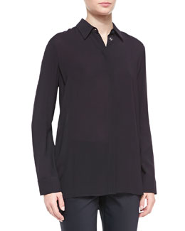 THE ROW Long-Sleeve Collared Blouse, Black