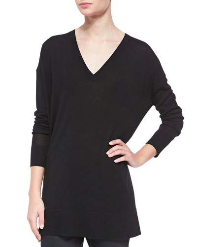 THE ROW Long-Sleeve Oversized V-Neck Sweater, Black