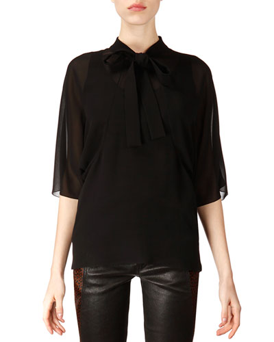 Saint Laurent Mid-Sleeve Silk Tie Blouse