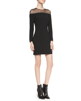 Saint Laurent Long-Sleeve Embellished-Yoke Minidress