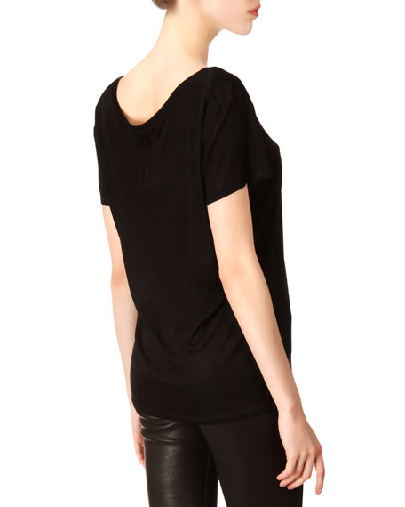 Short-Sleeve Silk Jersey Pocket T-Shirt