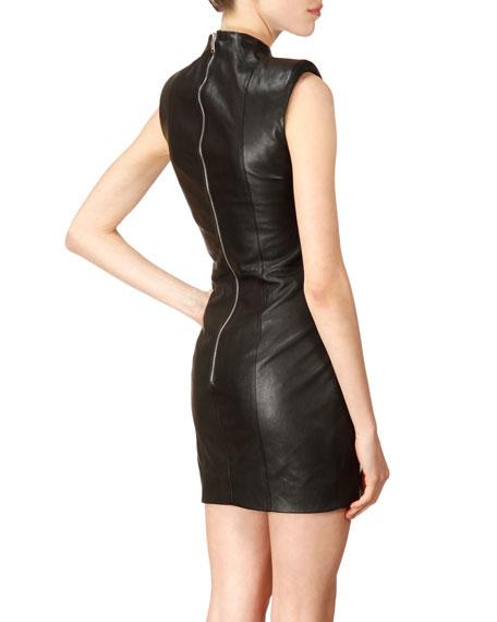 Sleeveless High-Neck Studded Leather Dress