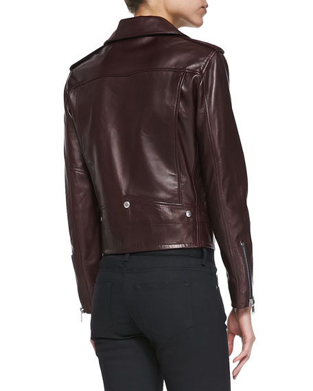 Classic Bordeaux Leather Moto Jacket