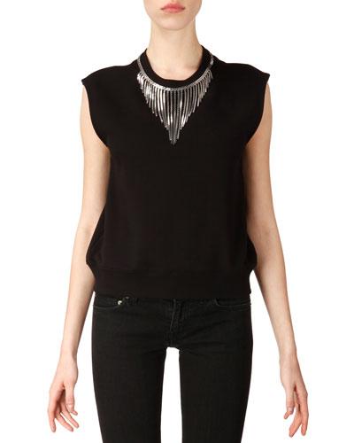 Neck-Chain Sweatshirt Top