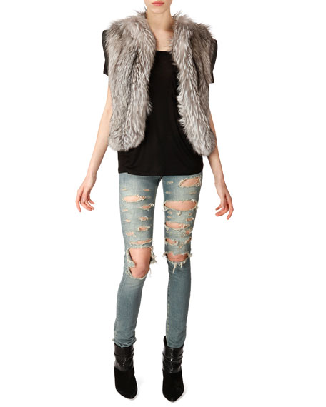 Distressed Skinny 5-Pocket Jeans