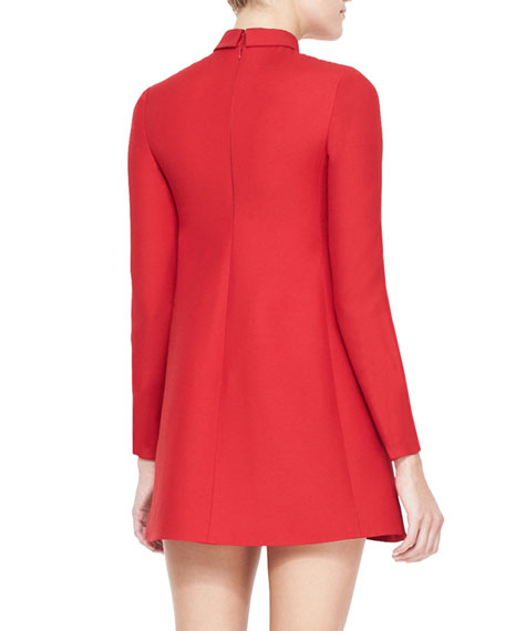 Collared Long-Sleeve Dress, Red