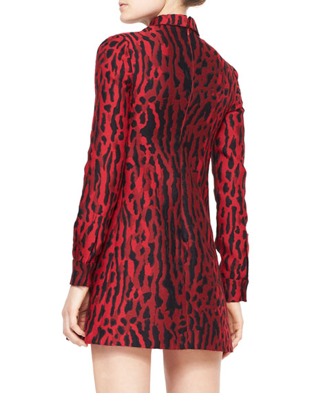 Ocelot-Print Collared Long-Sleeve Dress, Red