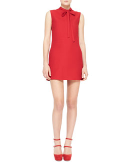 Valentino Sleeveless Tie-Neck Dress, Red