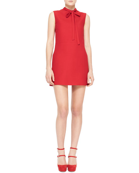 Sleeveless Tie-Neck Dress, Red