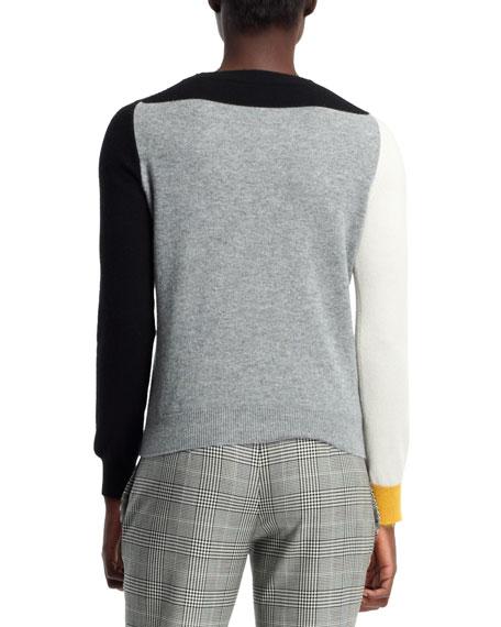 Cashmere Colorblock Sweater, Black/White