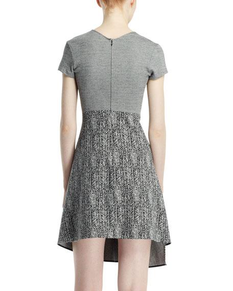 Cap-Sleeve Herringbone Jacquard Dress, Black/Chalk