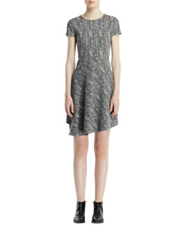 Stella McCartney Cap-Sleeve Herringbone Jacquard Dress, Black/Chalk
