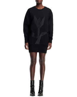 Stella McCartney Long-Sleeve Tulip Sweatshirt Dress, Black