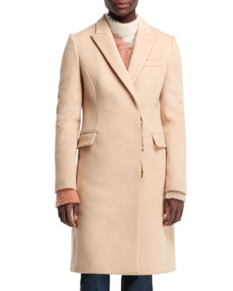 Stella McCartney Florence Fitted Asymmetric Coat, Camel
