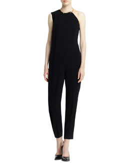 Stella McCartney Drape-Front Jewel-Neck Jumpsuit, Black