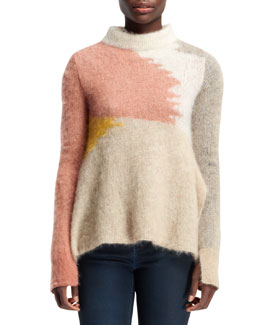 Stella McCartney Open-Neck Abstract Mohair-Blend Sweater