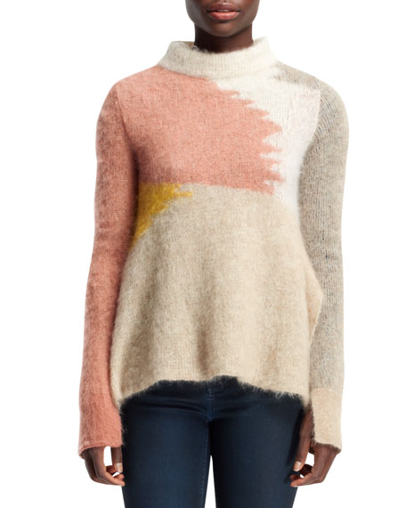 Open-Neck Abstract Mohair-Blend Sweater