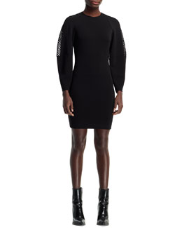 Stella McCartney Basketweave-Sleeve Dress, Black