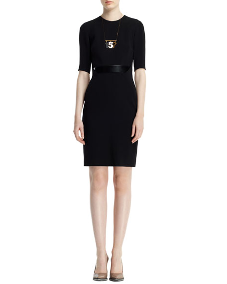 Andra 1/2-Sleeve Dress with Built-In Belt, Black