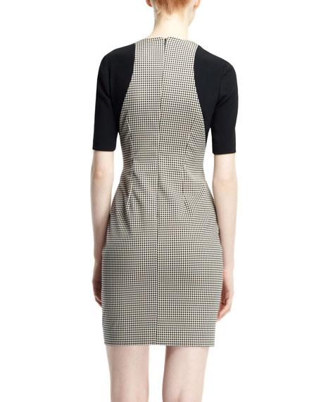 Contour Colorblock Houndstooth Dress, Black/White