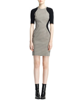Stella McCartney Contour Colorblock Houndstooth Dress, Black/White