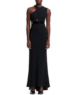 Stella McCartney Amy Cutout-Shoulder Gown, Black