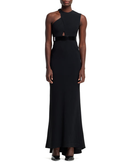 Amy Cutout-Shoulder Gown, Black