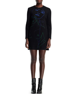 Stella McCartney Embroidered Wool-Blend Shift Dress, Black/Multi