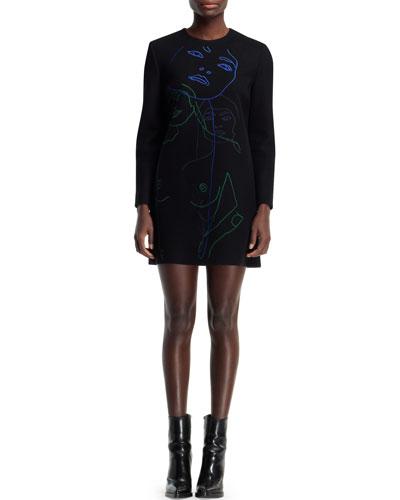Stella McCartney Embroidered Wool-Blend Shift Dress, Black/Multi