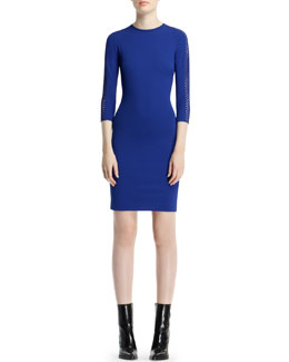 Stella McCartney Dot-Basketweave-Sleeve Sheath Dress, Blue Bird