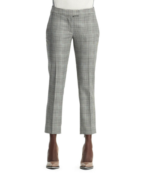 Glen Plaid Cropped Trousers, Black