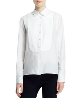 Stella McCartney Long-Sleeve Button-Front Tuxedo Blouse, White