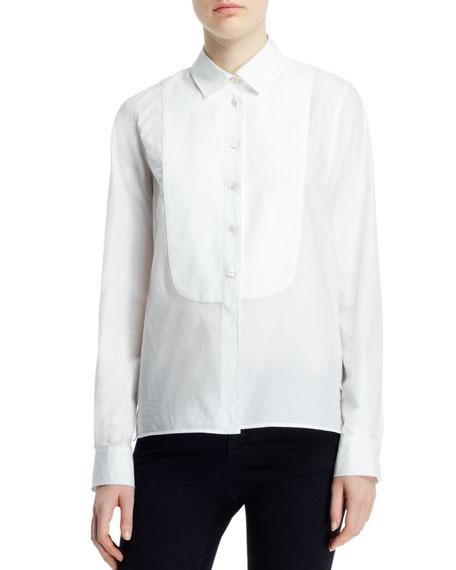 Long-Sleeve Button-Front Tuxedo Blouse, White