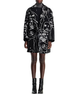 Stella McCartney Embroidered Swing Coat, Black/Ivory